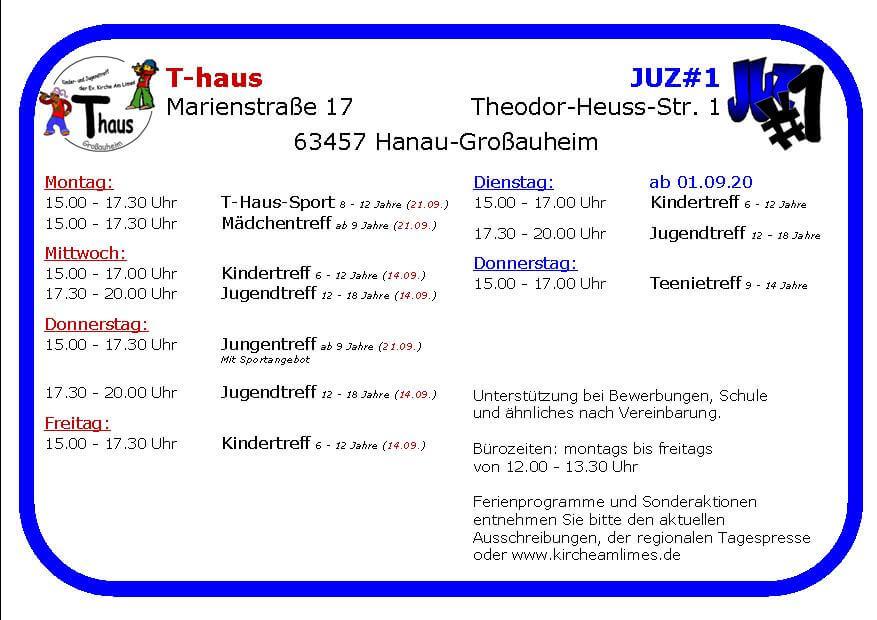 Flyer T-Haus JUZ#1 2020_öffnungen